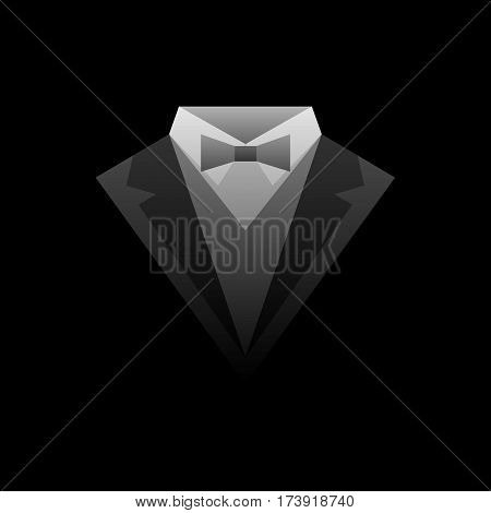 Abstract black and white suit logo isolated on black background