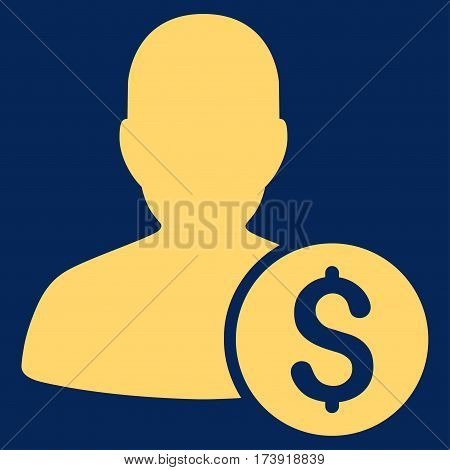 Investor vector pictograph. Illustration style is a flat iconic yellow symbol on blue background.