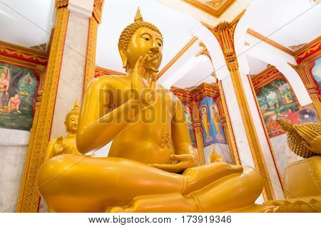 Thailand, Phuket - 19 February 2017 : Wat Chalong. inside the Buddhist temple