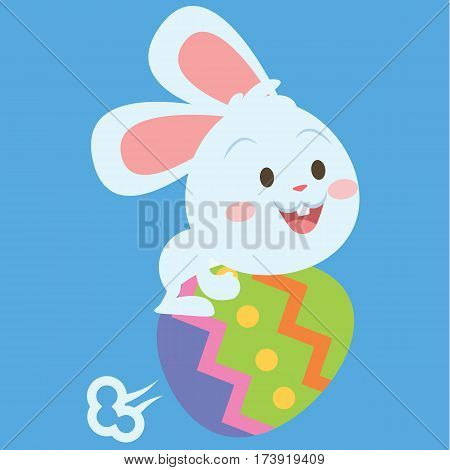Bunny flying with egg style easter theme collection stock