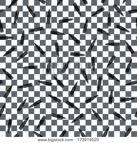 transparent bullet. banner with live ammunition. gray white squares. abstract background. seamless pattern. vector illustration