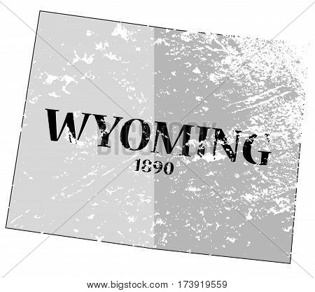 Wyoming State And Date Map Grunged