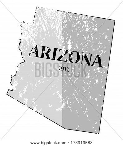 Arizona State And Date Map Grunged