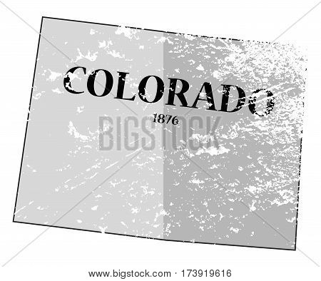 Colorado State And Date Map Grunged