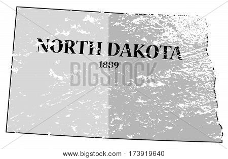 North Dakota State And Date Map Grunged
