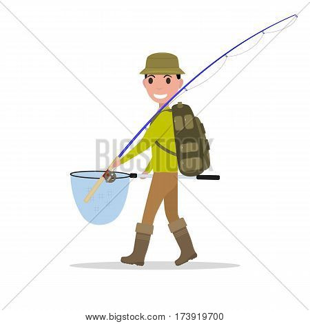 Vector illustration of cartoon man fisherman with hiking backpack goes fishing vacation. Isolated white background. Flat design. Concept of sport fishing.