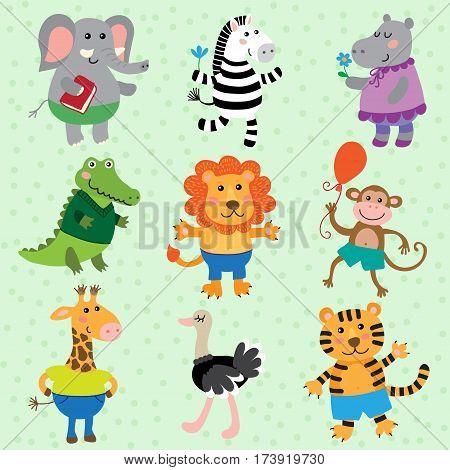 Set of cute cartoon african animals vector illustration