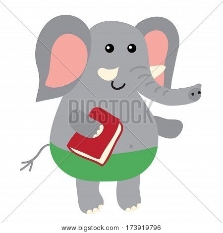 Cute cartoon elephant isolated on white background