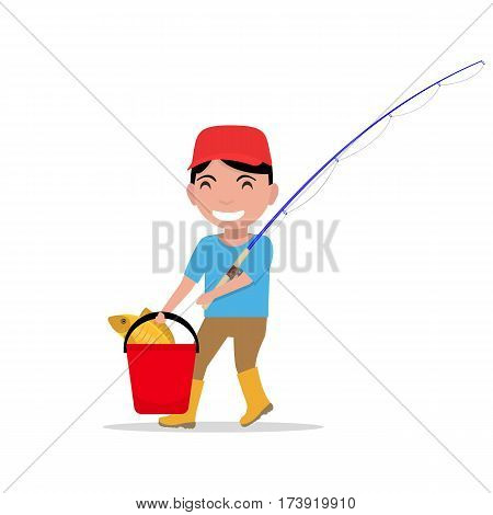 Vector illustration of a cartoon boy going with a fishing rod, a bucket and fish. Isolated white background. Flat design. Child fisherman caught a fish.