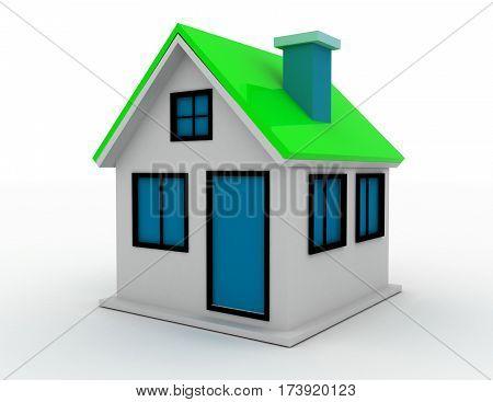 3d render of schematic presented cottage. rendered illustration