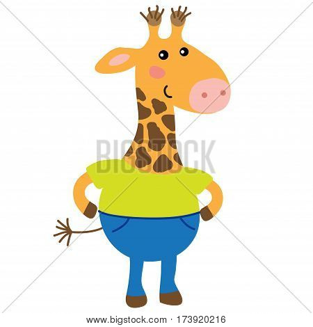 Cute cartoon giraffe isolated on white background