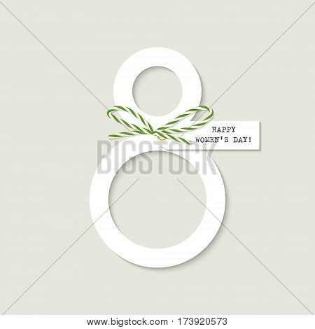 International womens day greeting card with green bakers twine bow