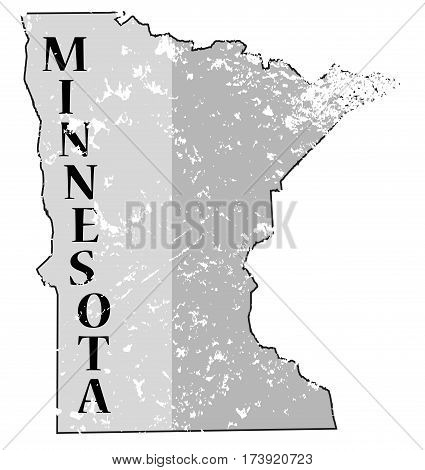 Minnesota State And Date Map Grunged