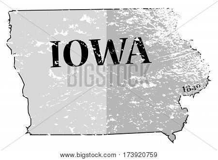 Iowa State And Date Map Grunged