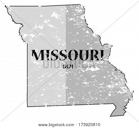 Missouri State And Date Map Grunged