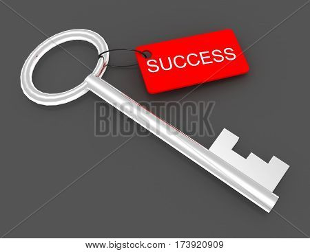 3d key with label success. rendered illustration