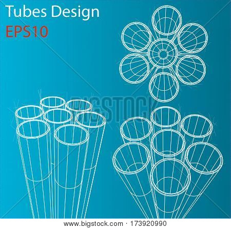 Manufacture and trade of metal pipes. Wire-frame style. Perspective Blueprint. 3D Rendering Vector Illustration. EPS10 format