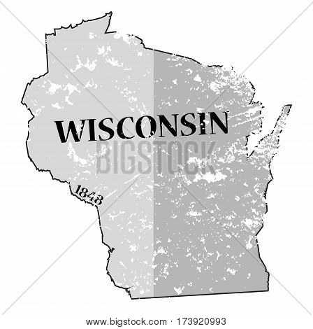 Wisconsin State And Date Map Grunged