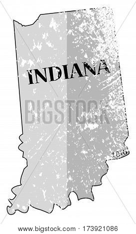Indiana State And Date Map Grunged