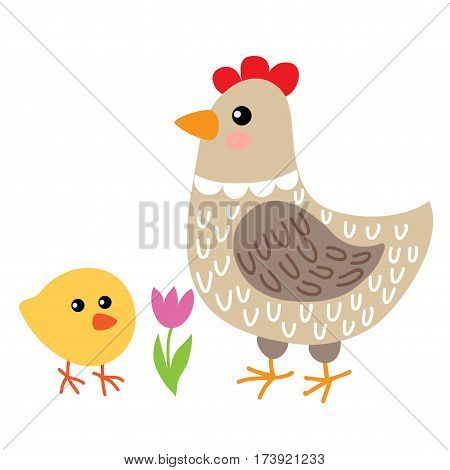 Cute cartoon hen and chicken isolated on white background
