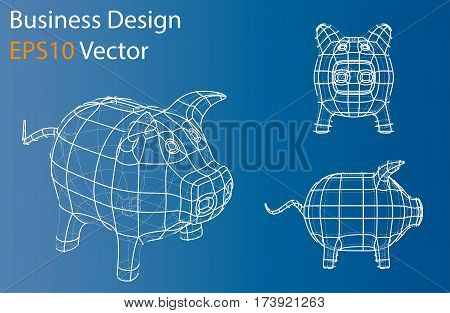 Business concept. Piggy bank in wire-frame style. Perspective Blueprint. 3D Rendering Vector Illustration. EPS10 format