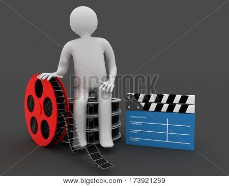 3D White People. Film Director With Clapperboard And Film Reels. Isolated Black Background.