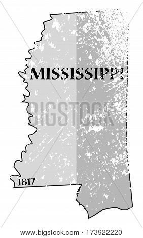 Mississippi State And Date Map Grunged
