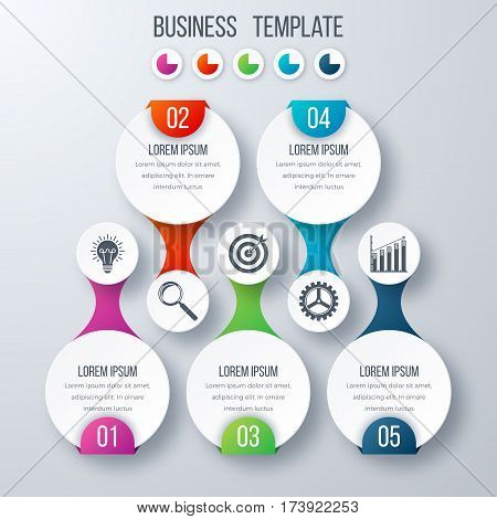 Infographics template five options with circles. Can be used for workflow layout, diagram, number options, step up options, web design, presentations