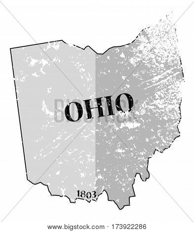 Ohio State And Date Map Grunged