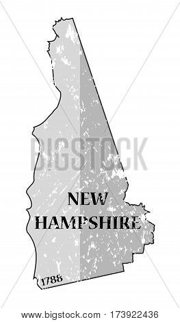 New Hampshire State And Date Map Grunged
