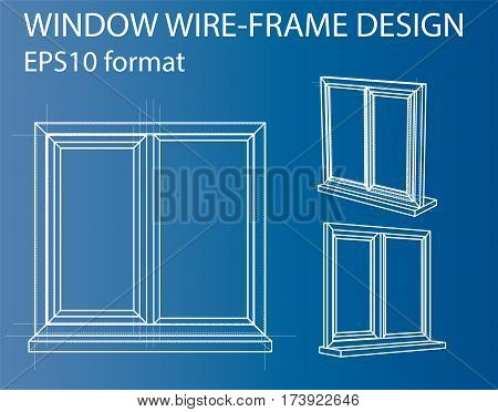Design and manufacture of windows. Wire-frame style. Perspective Blueprint. 3D Rendering Vector Illustration. EPS10 format