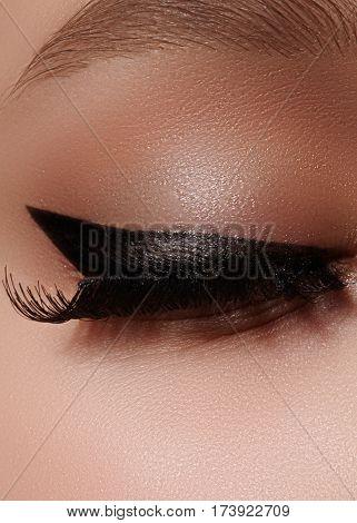 Beautiful Female Eye With Extreme Long Eyelashes, Black Liner Makeup. Perfect Make-up, Long Lashes.