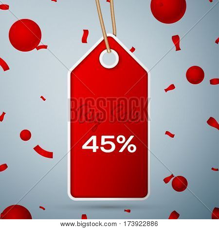Red pennant with an inscription Big Sale forty five percent Discounts over a grey background and confetti. Sale concept for shops store market, web and other commerce. Vector illustration.
