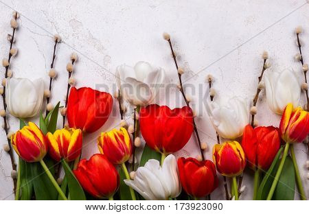 Colorful tulips with branches pussy willows on old background. Festive  Easter concept with copy space. Flat lay