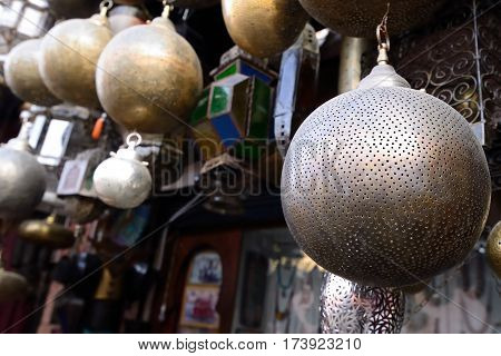 Decorative elements on the souk (market) in the old town Medina in Morocco
