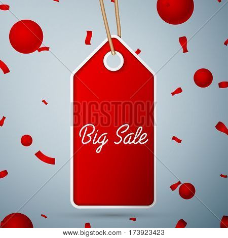 Red pennant with an inscription Big Sale over a grey background and confetti. Sale concept for shops store market, web and other commerce. Vector illustration.