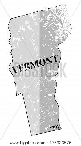 Vermont State And Date Map Grunged