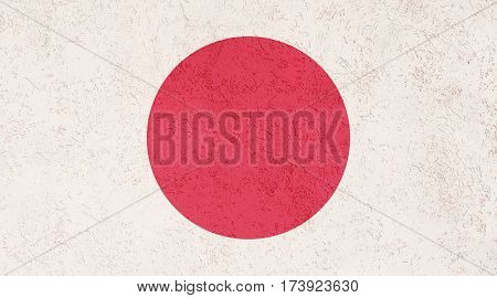 Japanese flag plaster wall. Abstract Flag background.