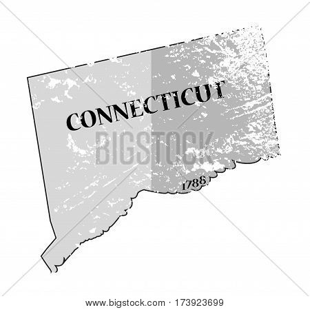 Connecticut State And Date Map Grunged