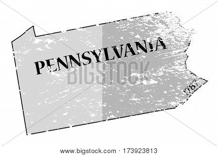 Pennsylvania State And Date Map Grunged