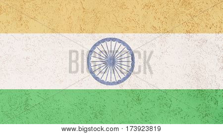 Indian flag plaster wall. Abstract Flag background.