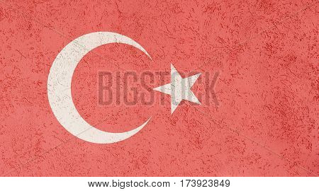 Turkish flag plaster wall. Abstract Flag background.