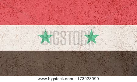 Syrian flag plaster wall. Abstract Flag background.