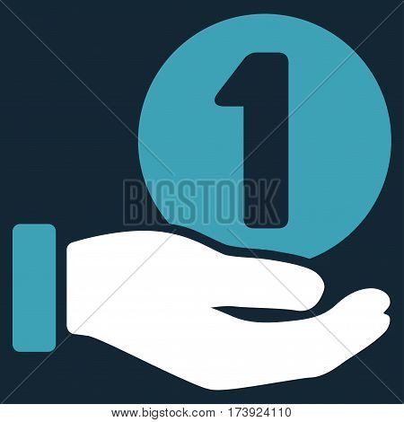 One Coin Payment Hand vector pictogram. Illustration style is a flat iconic bicolor blue and white symbol on dark blue background.
