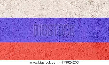 Russian flag plaster wall. Abstract Flag background.