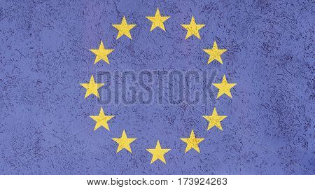 EU flag plaster wall. Abstract Flag background.