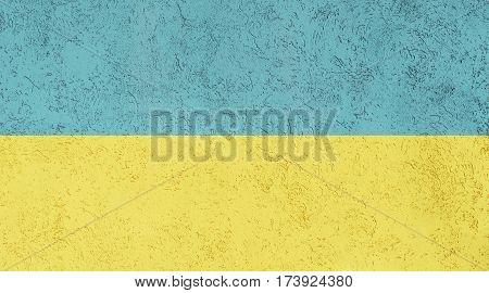 Ukrainian flag plaster wall. Abstract Flag background.