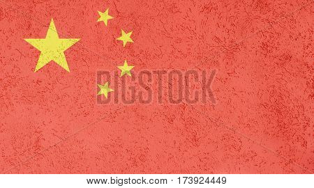 Chinese flag plaster wall. Abstract Flag background.