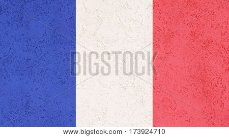 French flag plaster wall. Abstract Flag background.