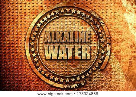 alkaline water, 3D rendering, metal text